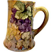 """French Limoges 5 3/8"""" Mug Hand Painted Grapes Artist Signed c 1892 - 1907"""