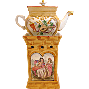 French Bayeux Veilleuse Demitasse Teapot Hand Painted Courting Couples Chapel c 1890