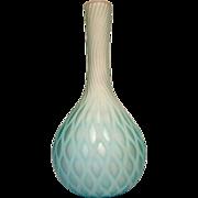 "English Satin Art Glass Vase 10"" MOP Diamond Quilted White Cased Blue Shading c 1885"