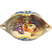 Japanese Nippon Large Footed Centerpiece Bowl Hand Painted Fruit Purple Grapes & Apples c 1910