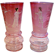 """Bohemian Czech Pair Art Glass Vases 6"""" Clear-to-Cranberry Mary Gregory Enameled Figures c 1900"""