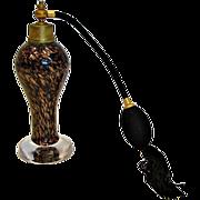 Italian Murano Copper Aventurine Art Glass Perfume Bottle Atomizer c 1960