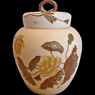 German New York & Rudolstadt Lidded Jar w Interior Lid for Tea, Cookies, Crackers or Ginger Hand Painted Flowers Leaves c 1882 - 1918