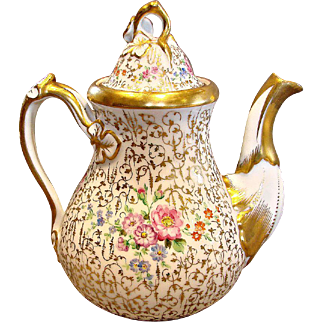 German SPM Schumann Large Teapot Hand Painted Flowers Gold Leaf Mold c 1844-1847