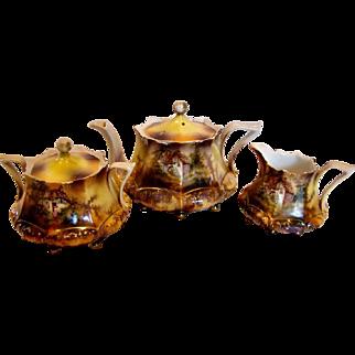 German RS Prussia Demitasse Tea Set – Teapot, Sugar & Creamer - Mold 632 Mill or Cottage Scenes c 1904 - 1938