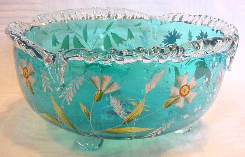 English bright blue footed art glass centerpiece bowl