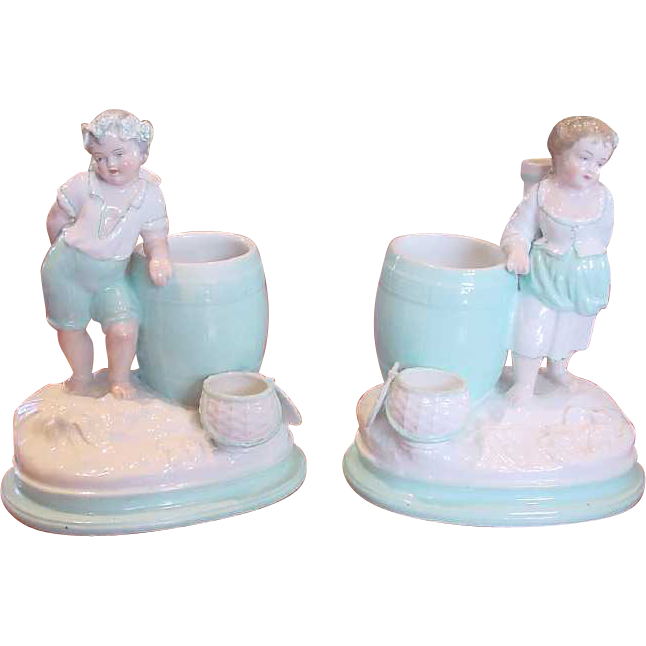 English Royal Worcester 18th Century Porcelain Pair Smoke Set Boy Girl Figurines c 1792-1807