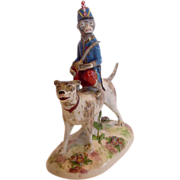 French Old Paris Vincent Dubois La Courtille Figurine Dog w Circus Monkey Applied Flowers c 1774 - 1787