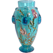 Bohemian Moser Blue Art Glass Vase Enameled Butterflies Flowers c 1910 - 1925