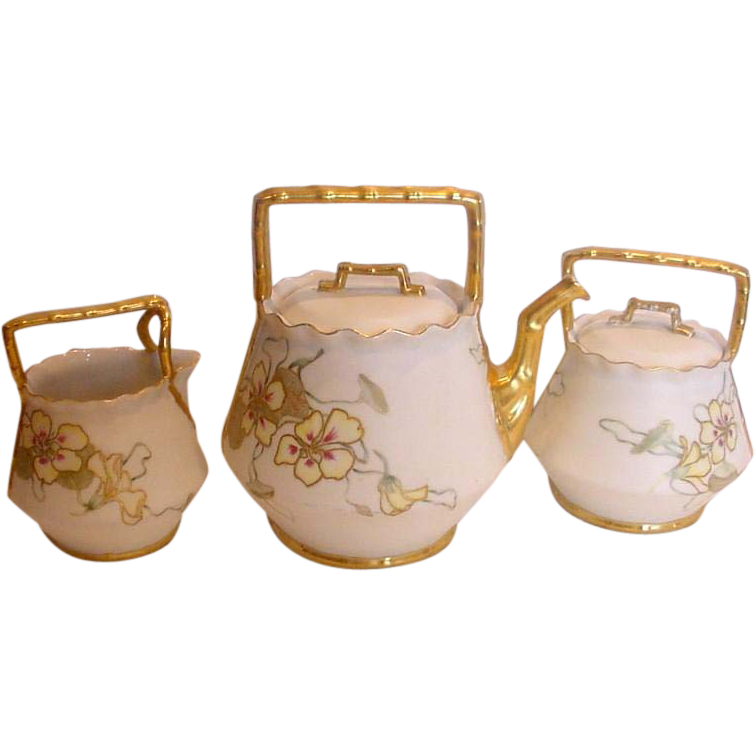 French Porcelain Tea Set Teapot Sugar Creamer Basket Shape Handles Hand Painted Pansies c 1893