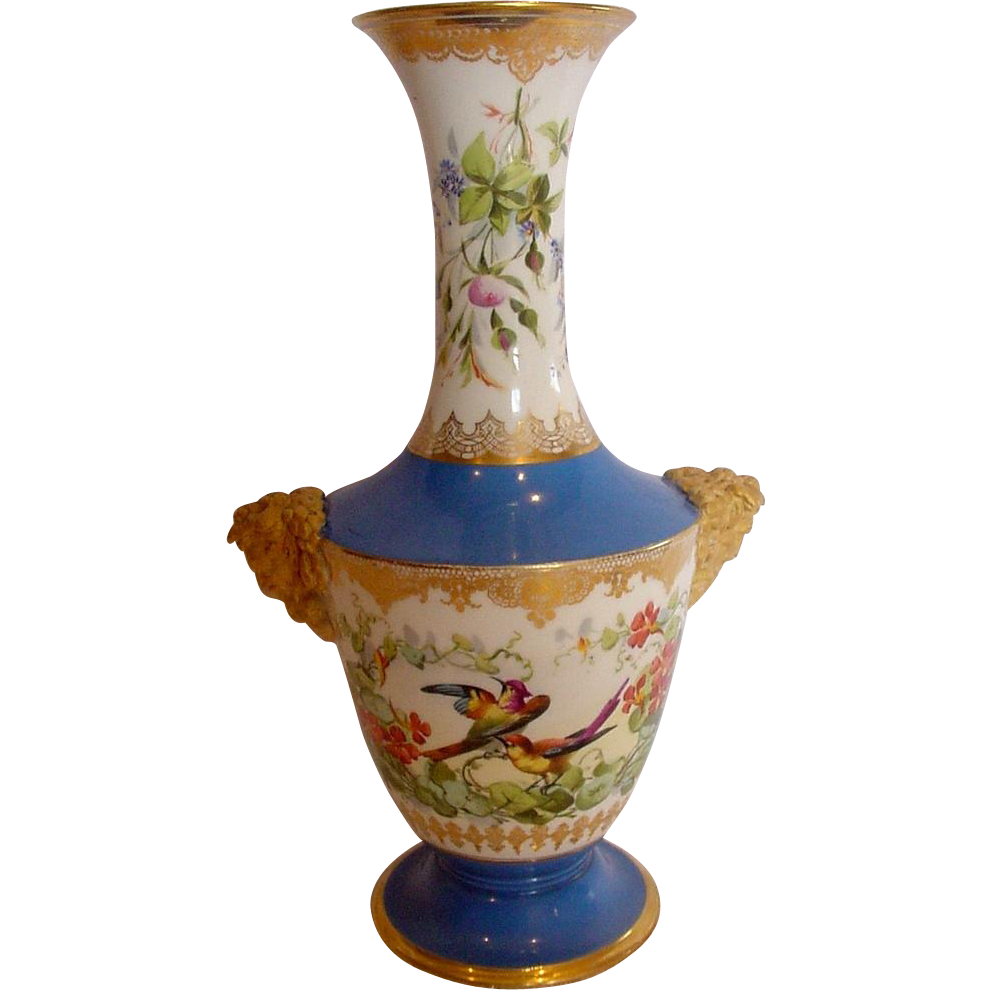 French Paris Jules Vialatte Vase Bacchus Heads Hand Painted Birds Flowers Beau Bleu Ground c 1870