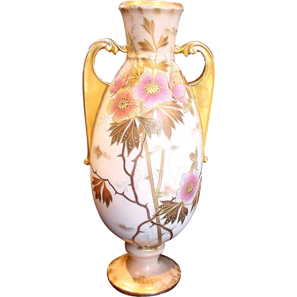 "German Vase Bonn Mehlem 13 ½"" Hand Painted Gold Vines Pink Wild Roses c 1888 - 1900"
