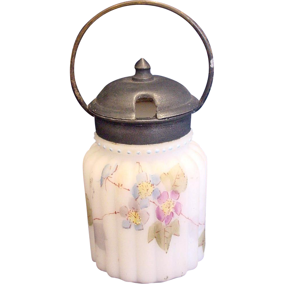 American Mt. Washington Mustard Pot Art Glass w Pewter Lid & Handle c 1900