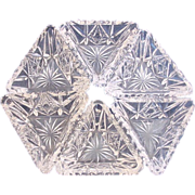 American Hawkes Signed Set of Six Cut Glass Crystal Triangular Salts c 1895 – 1962