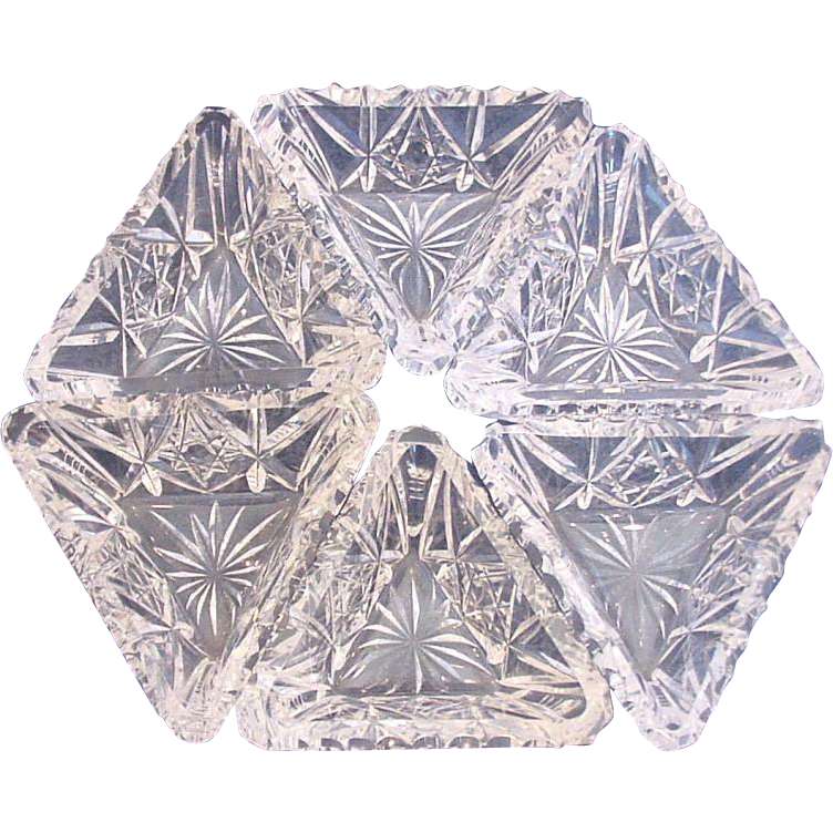 American Hawkes Signed Set of Six Cut Glass Crystal Triangular Salts c 1895 – 1962