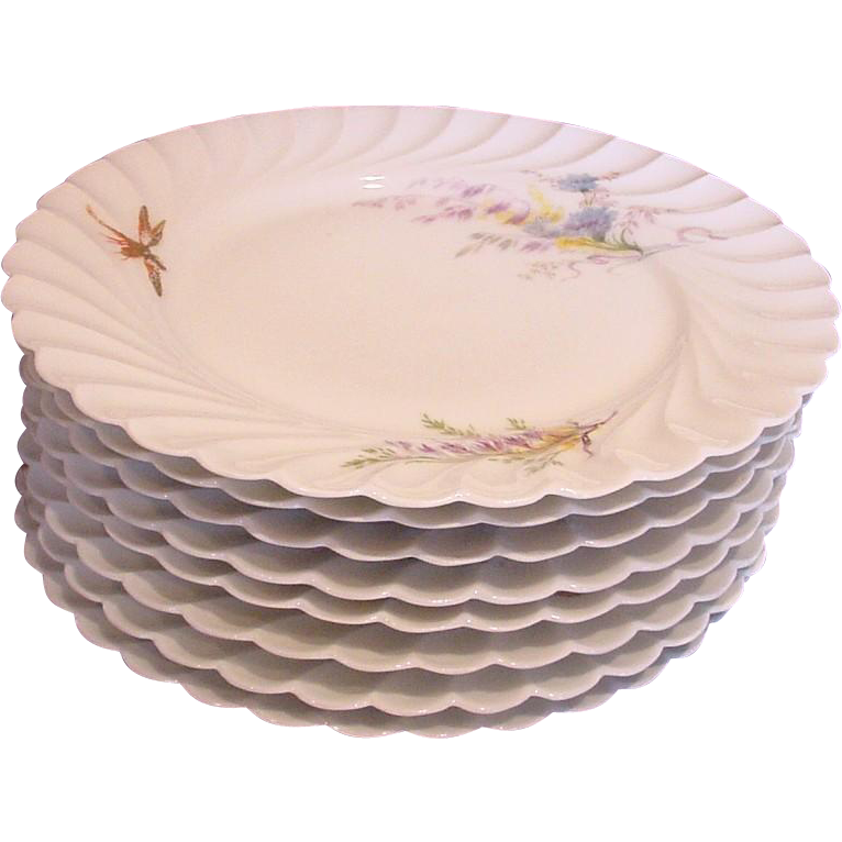 """French Haviland Limoges Set 8 Meadow Visitor 8 ½"""" Plates Gold & Red Dragonfly, Butterflies, Birds with Floral Patterns c 1876 – 1889"""