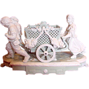 "English Minton Huge Figural Group Wheeled Basket Celadon & White Glaze Early Pate-Sur-Pate 18 1/2"" Long & Weighs 16 Lbs c 1868"