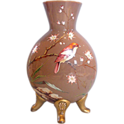 "Bohemian Czech Harrach 13"" Brown Opal Art Glass  Vase Enameled Bird & Garden Scene Applied Feet c 1875"