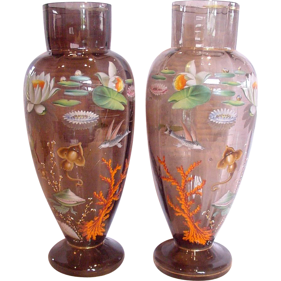 "Bohemian Moser Pair Large 15 ½"" Vases w Enameled Aquatic Sea Life Fish Flowers c 1890 – 1905"