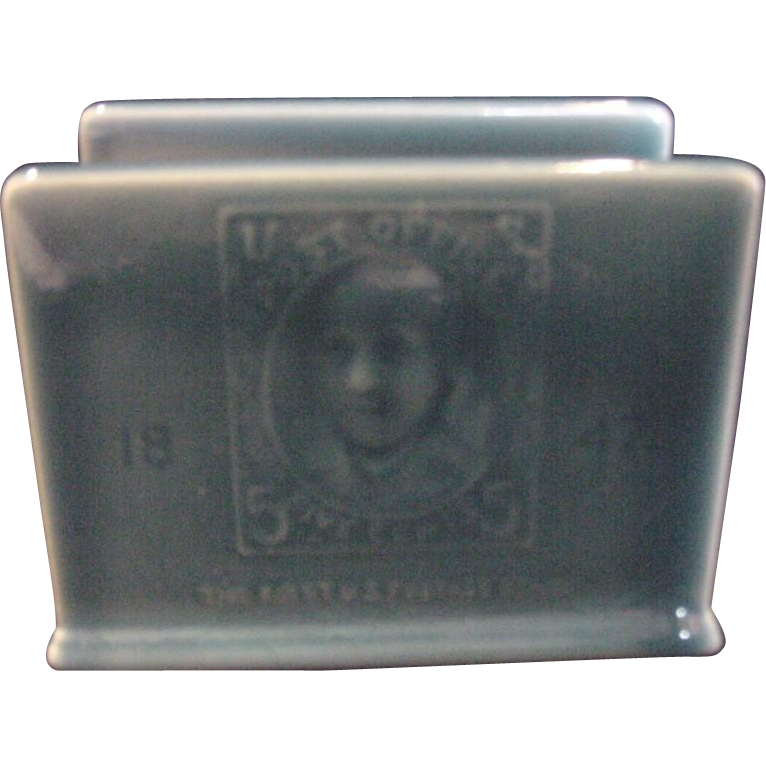Rookwood Blue Letter Holder 5 Cent Stamp Decor 1956