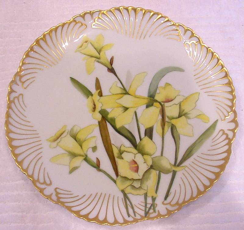 French Limoges Plate Artist Painted Yellow Daffodils c 1891