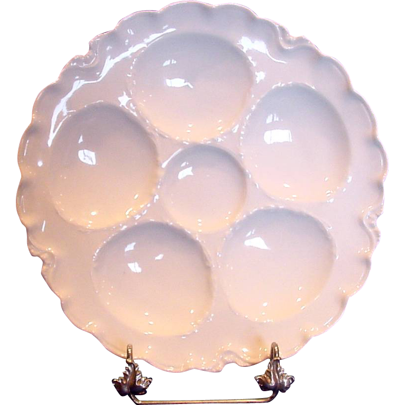 French Haviland Limoges Set of 4 Oyster Plates All White Ranson c 1888 to 1896