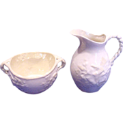 Irish Belleek Small Open Sugar & Creamer Jug Ivy c 1926 – 1946
