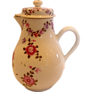 Chinese 18th Century Export Lidded Syrup or Cider Jug Hand Painted Roses Flying Bugs c 1770