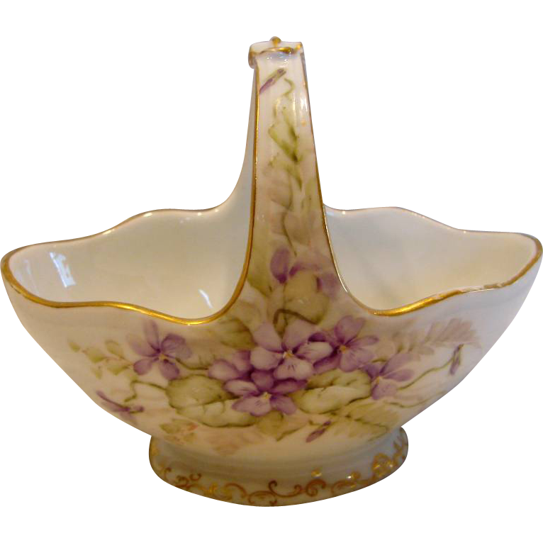 French Haviland Limoges Sugar Basket Hand Painted Violets c 1882 - 1890