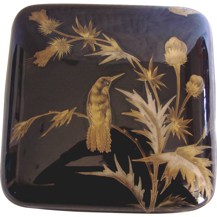 English Worcester 18th Century Large Porcelain Tea Box Caddy Cobalt Gold Bird Butterflies c 1792