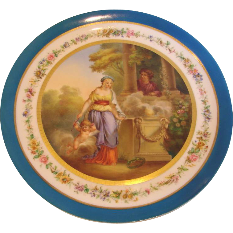 "French Old Paris 14"" Plaque Charger Painted Courting Romantic Couple & Cherub c 1850  #1 of 2"
