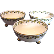 French Haviland Limoges Set of 3 Footed Nut Cups c 1894 to 1930