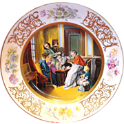 French Limoges Hand Painted Scenic Charger of 17th Century Family Drinking Chocolate Artist Signed Pardu c 1891 to 1900