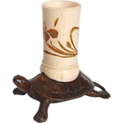 Asian Japanese or Chinese Small Metal Bronze Detailed Sea Turtle w Hand Painted Pen or Match Holder c 1880