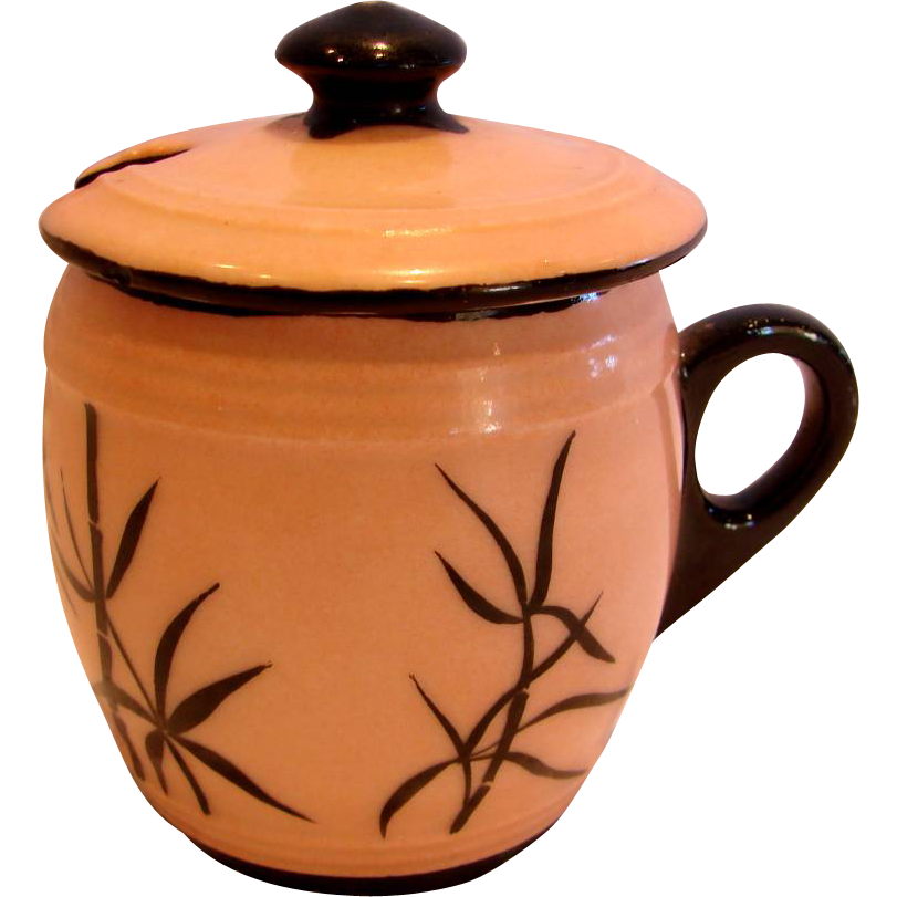 French Haviland Limoges Mustard Pot Decorated by Gibus & Redon c 1876 - 1881