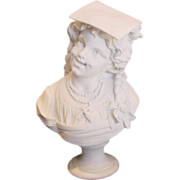 French Limoges Large Bisque Parian Bust by Sculptor Hector Lemaire 1883