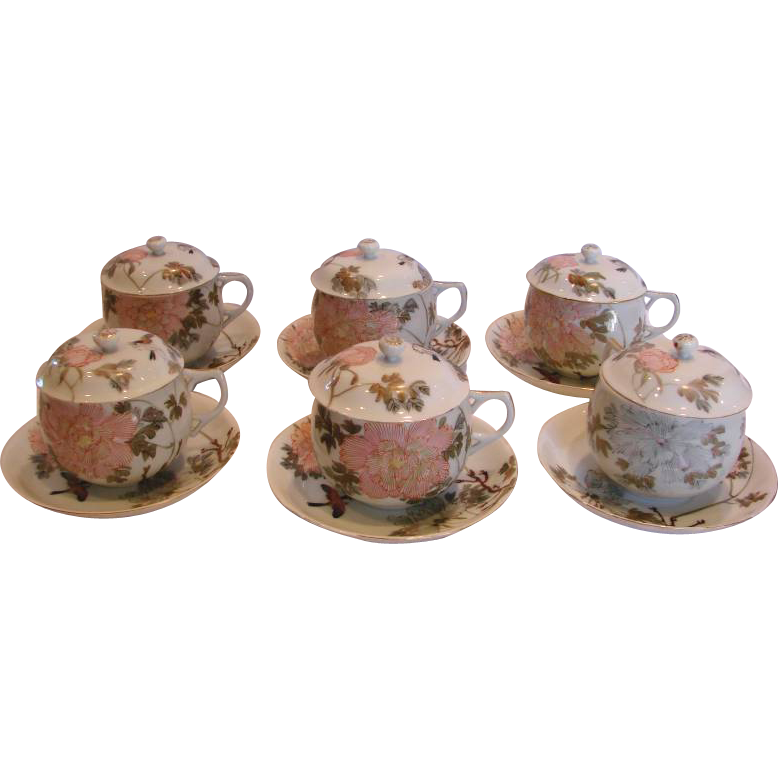 Japanese Kutani Porcelain Set of Six Covered Teacups w Lids Hand Painted Birds Flowers c 1890