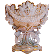 French Old Paris Gillet & Brianchon Pedestal Jardinière Vase w Bisque Gryphons Applied Porcelain Flowers Lustre-Sheen c 1857