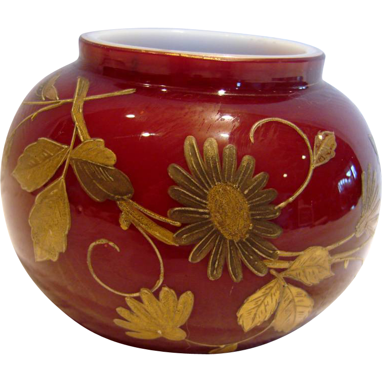 Bohemian Harrach Small Art Glass Vase Cased Red Oxblood w Gold Hand Enameled Flowers & Dragonfly c 1890