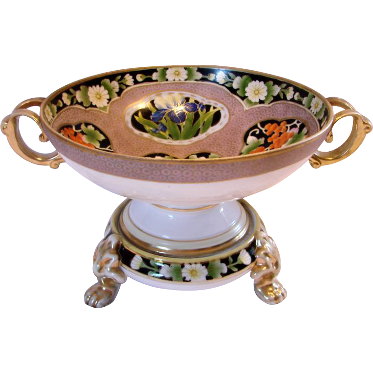 French Paris Two-Piece Centerpiece Compote Bowl on Paw Footed Stand Hand Painted Flowers & Berries c 1890