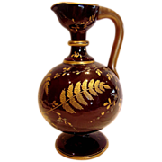 "English Glass 10"" Jug or Vase Cased Dark Red Oxblood Cased White Hand Enameled Gold Ferns & Leaves c 1860"