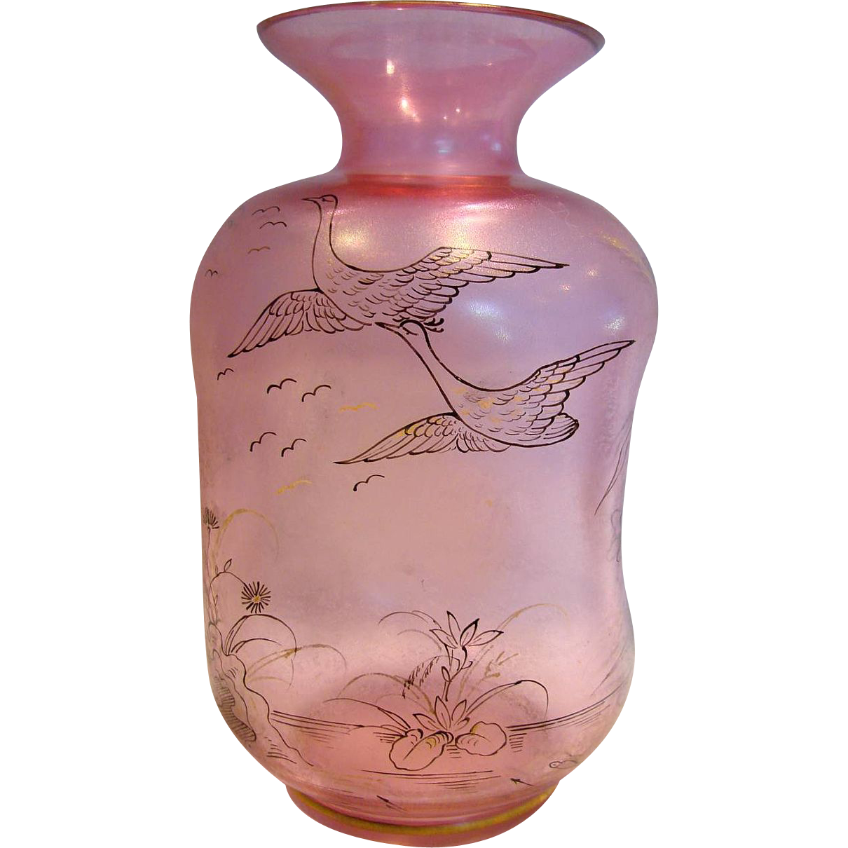Bohemian Art Glass Vase Cranberry or Pale Ruby w Pen Ink Sketch Drawings of Flying Birds Geese Dragonfly Bee Fish c 1900