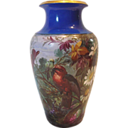 French  Paris Vase Hand Painted Landscape Scene w Birds, Large Daisies & Foliage Artist Signed c 1890