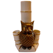 English Royal Worcester Figural Owl Bird and Bamboo Flower Holder Vase c 1884