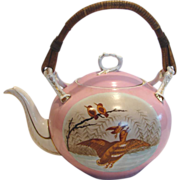 English Large Teapot Hand Painted Ducks Birds Pink Ground Wood Handle c 1850 - 1870