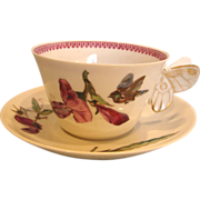 French Haviland Limoges Cup & Saucer w Figural Butterfly Handle Meadow Visitor Birds Purple Orchids c 1876 - 1880