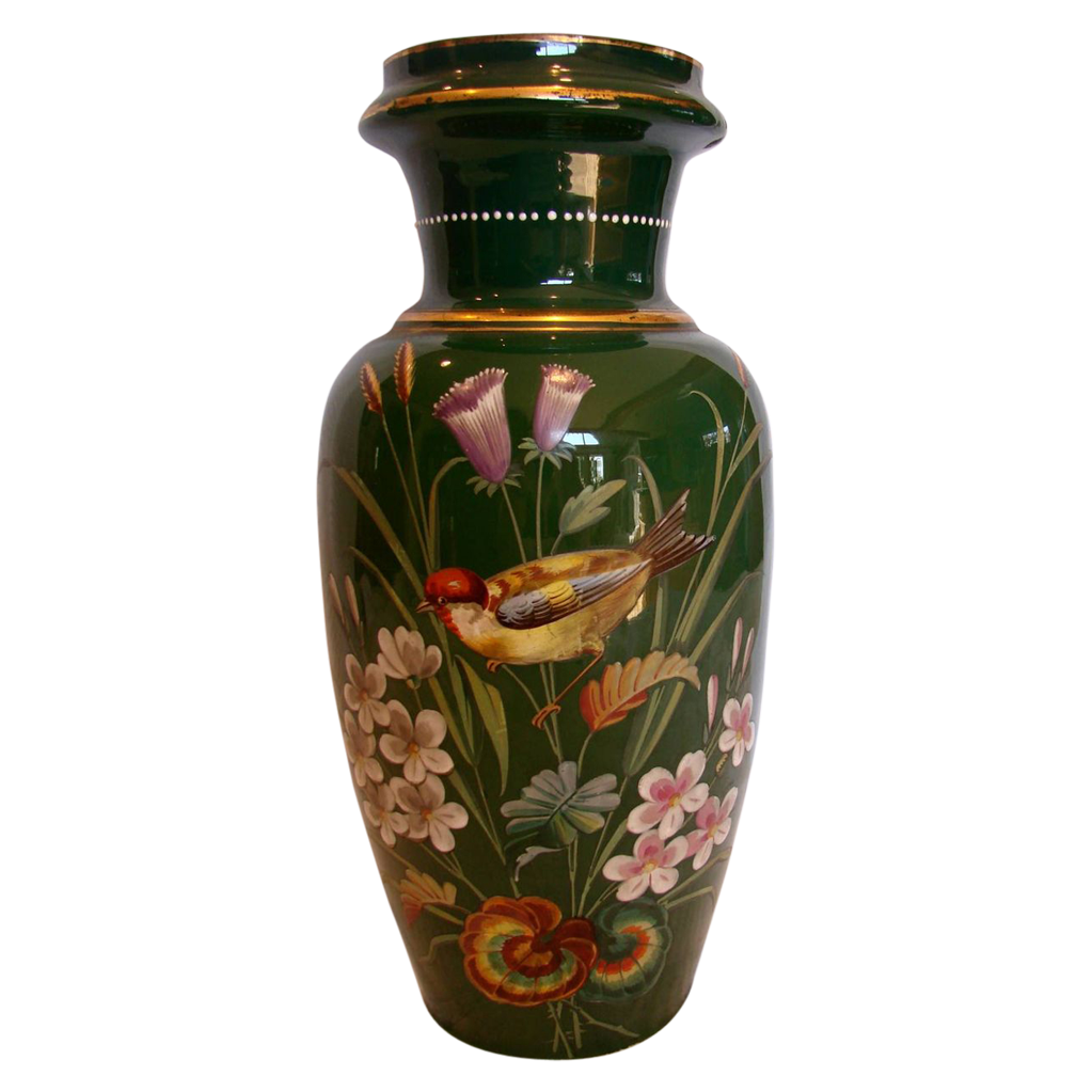 "Bohemian Czech Harrach Large Green Art Glass Vase 13 ½"" w Hand Painted Bird & Flowers c 1880"