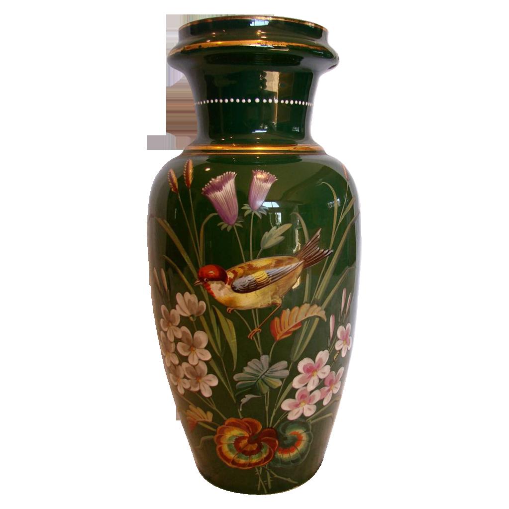 "Bohemian Harrach Large Green Glass Vase 13 ½"" w Hand Painted Bird & Flowers c 1890"