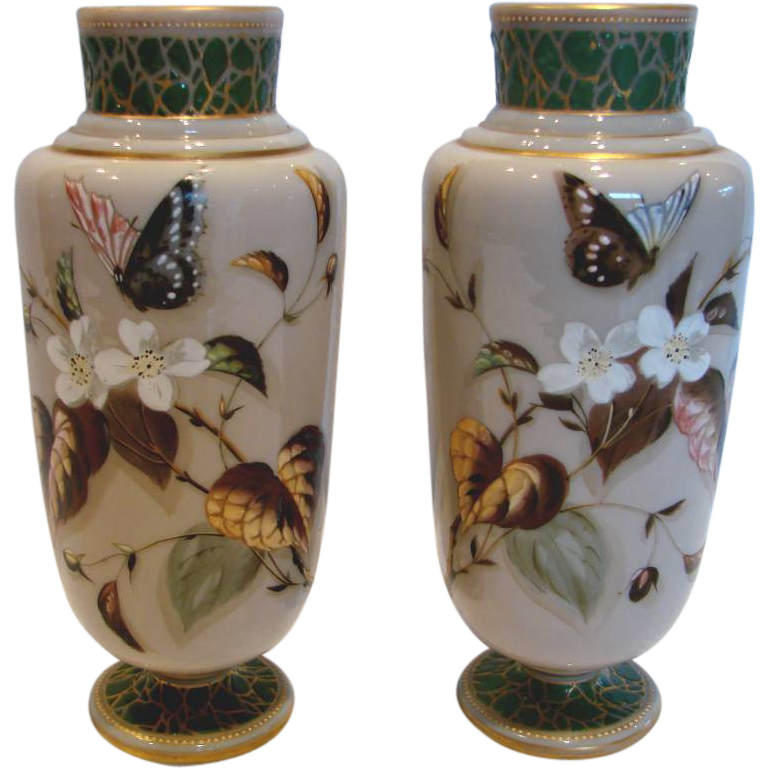 Bohemian Czech Harrach Pair Art Glass Vases Hand Painted Butterflies & Flowers C 1880