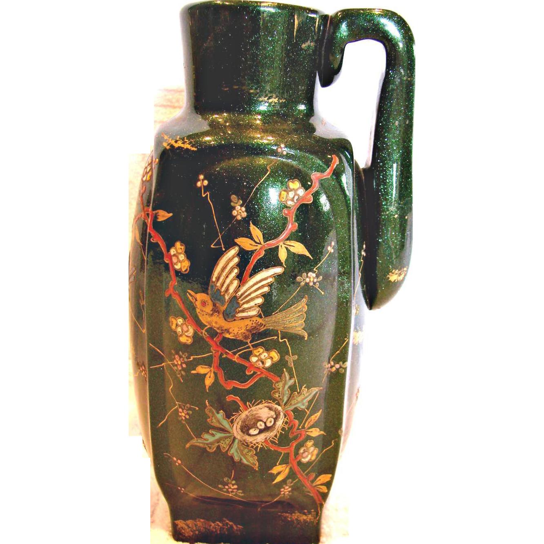 French Pottery Jug w Sparkling Green Glaze Hand Enameled Bird Dragonfly Nest Foliage c 1890